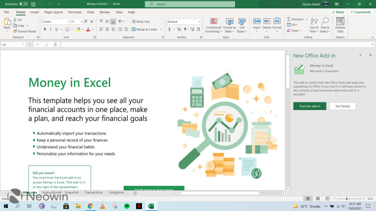 A screenshot of a template for financial management in Microsoft Excel