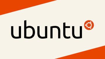 The Ubuntu logo on a white and orange background