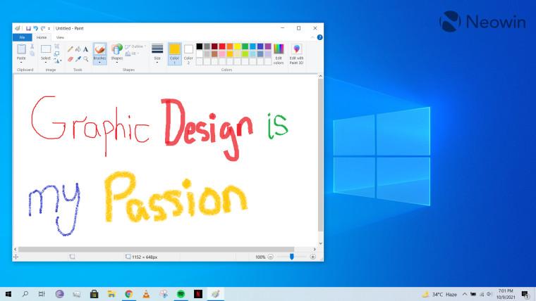A screenshot of Paint open on the Windows 10 desktop
