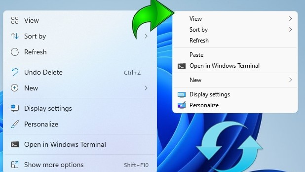 Context Menu in Windows 11 and in Windows 10 with a green arrow in between