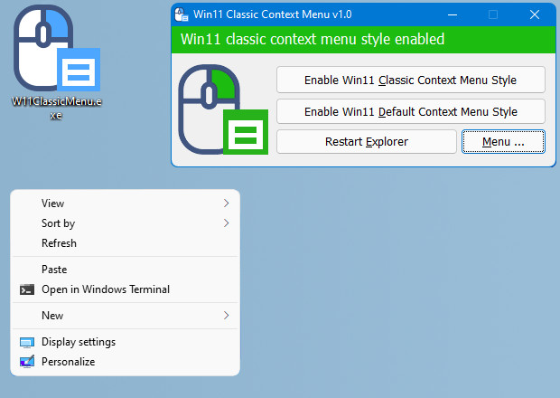 How to enable Classic Context Menu