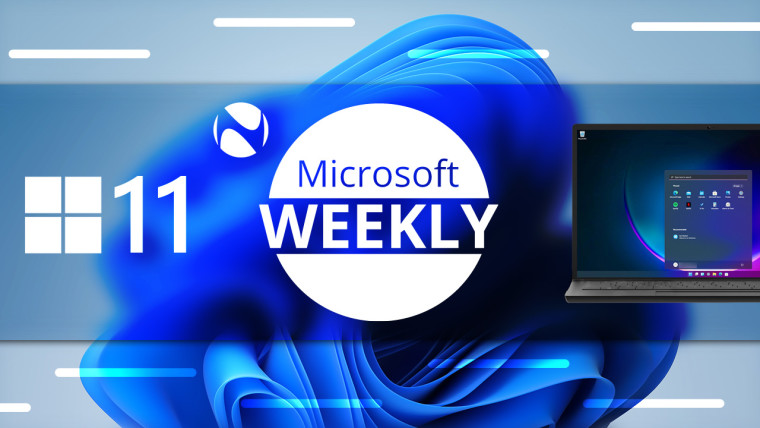 MIcrosoft Weekly logo with Windows 11 in a laptop on the right and Windows logo and 11 on the left