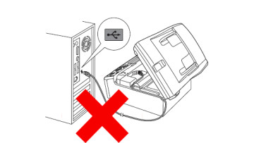 Connecting printer to PC via USB with a red cross sign on top