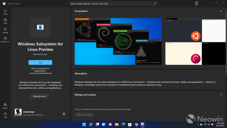 A Microsoft Store listing for Windows Subsystem for Linux Preview
