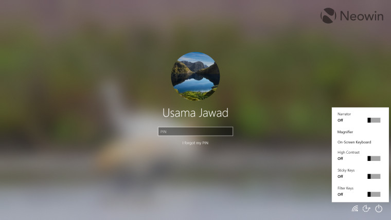A screenshot of the Windows 10 lock screen mechanism and UI