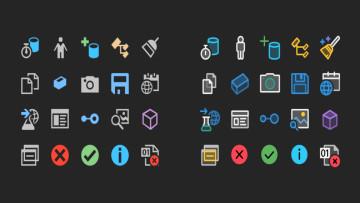 Visual Studio 2019 icons on the left versus Visual Studio 2022 icons on the right