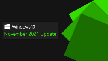 Windows 10 logo with November 2021 Update written below it