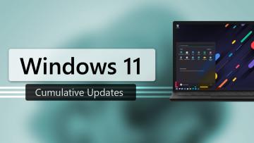 Windows 11 Cumulative Updates written against a blue background and a Windows 11 laptop