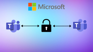 Microsoft icon on top Teams icons on left and right a lock in the middle and bidirectional arrows po