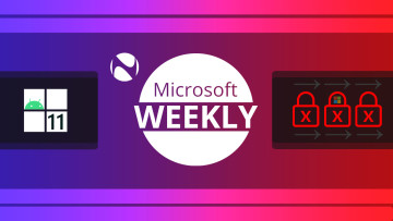 Microsoft Weekly logo with an Android icon inside a Windows logo on the left and red padlocks on the