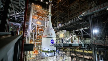 NASA Artemis I mission Orion and SLS stacked