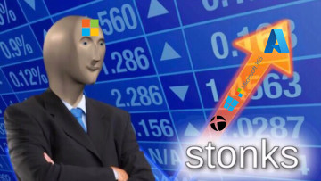 Stonks meme showing Microsoft revenues of Cloud Xbox Windows and Microsoft 365 going up