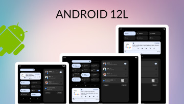 Android 12L written as the title with large screen devices at the bottom and Android logo on the lef