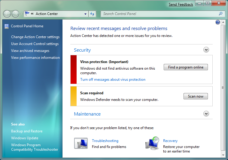Windows 7 action center overview