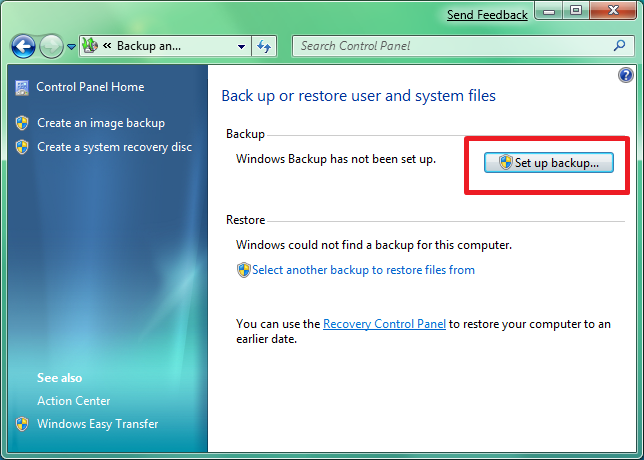 how to take windows 7 backup from system