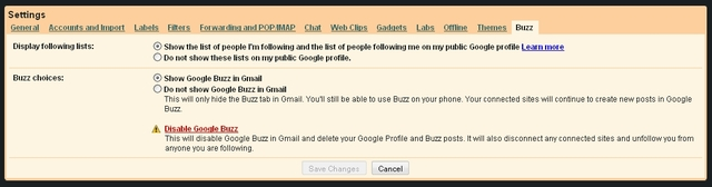 Google Buzz Tab in Gmail