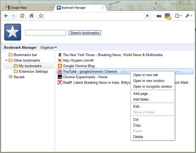 Chrome v5.0 Bookmark Manager