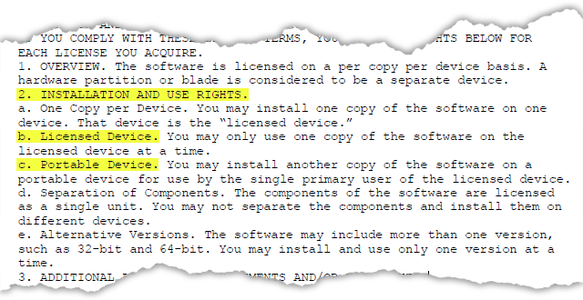 An extract from the Office 2010 licensing terms.