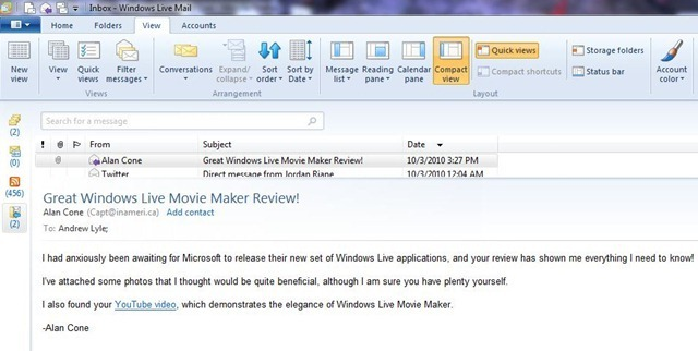 Review: Windows Live Essentials 2011 - Mail - Neowin