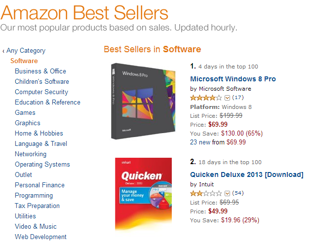 Windows 8 takes the #1 spot on Amazon's best sellers list