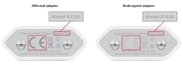 """Apple richiama i caricabatterie modello """"A1300"""" perchè rischiosi per la sicurezza."""