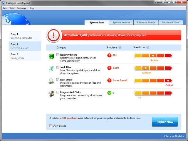 Auslogics BoostSpeed 5 русская версия + crack скриншот 3. Auslogics BoostSp