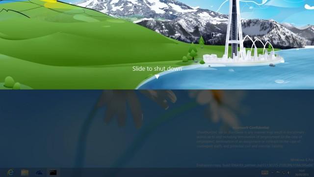 Windows blue slide to shut down preview