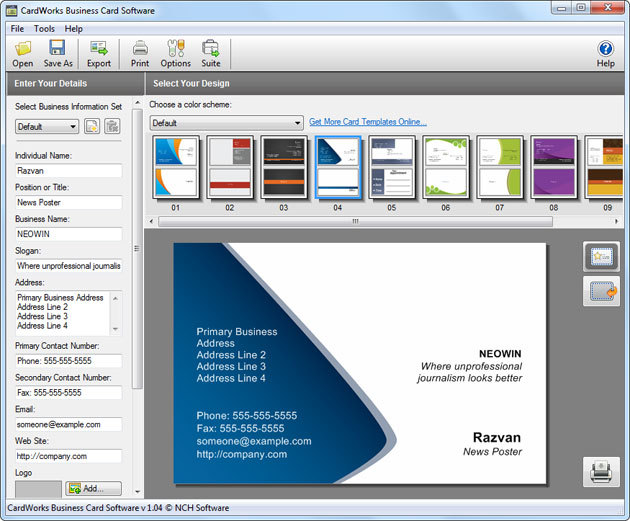 Cardworks business card software 104 neowin cardworks business card software helps you create nice business cards quickly and then print on your own printer or bring to a professional printshop for colourmoves
