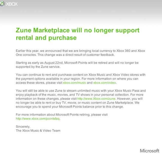 Microsoft to stop rentals and purchases on Zune Marketplace after