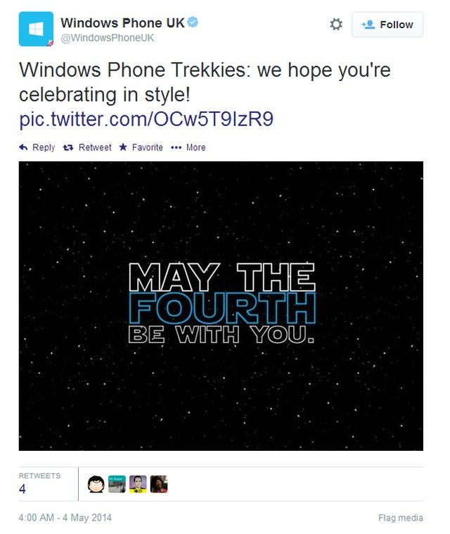 "According to Windows Phone UK on Twitter, ""Trekkies"" should celebrate Star Wars Day"