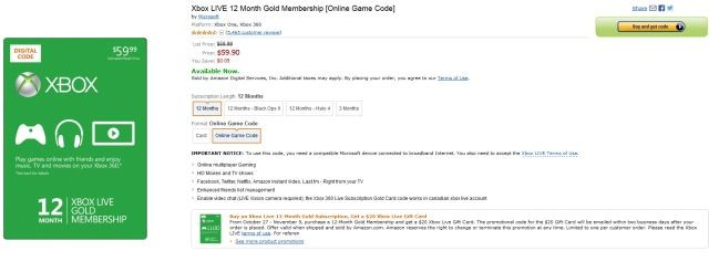 Amazon offers free $20 Xbox Live gift card with 12 month