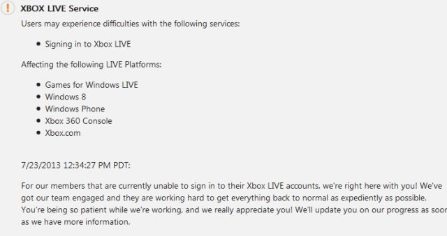 Xbox Live currently experiencing service disruption [Update