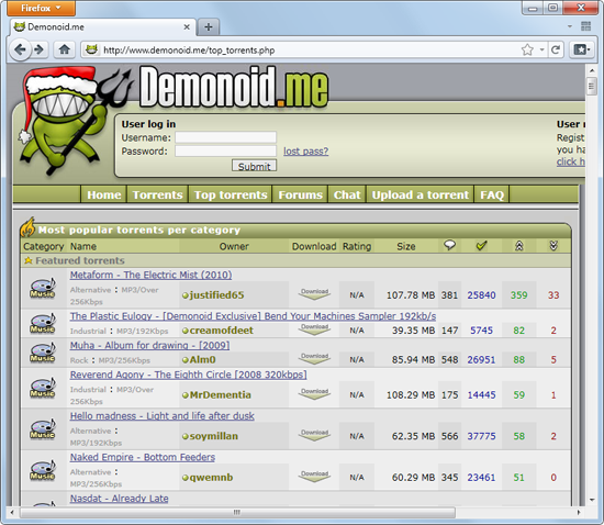 Demonoid domains go on sale; you could own history