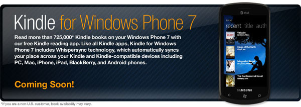Kindle app coming to Windows Phone 7 - Neowin