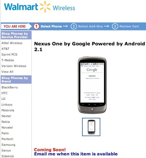 Walmart Nexus One