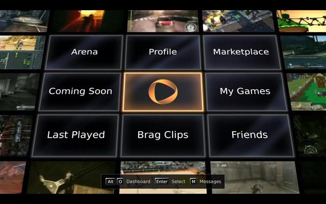 OnLive main screen