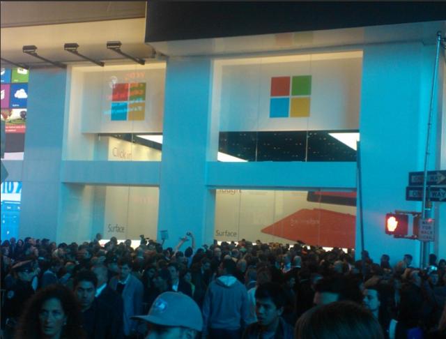 Sams Credit Login >> Microsoft's Times Square store opens, draws massive crowds ...