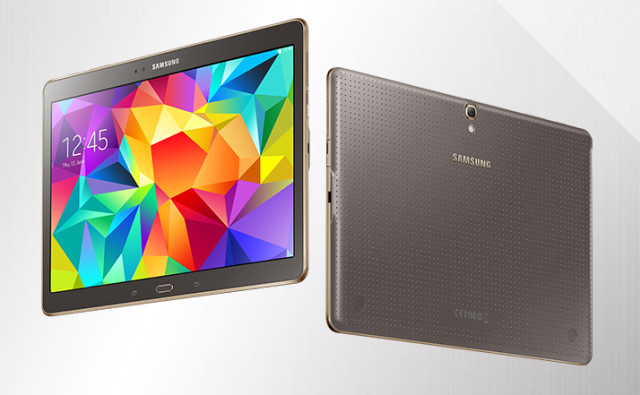 that device is samsungs galaxy tab s 105 which went on sale last summer with android 442 kitkat on board
