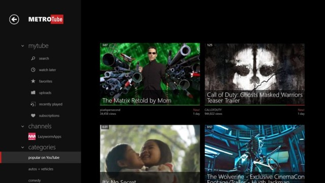 Windows 8 version of Metrotube YouTube player launches - Neowin