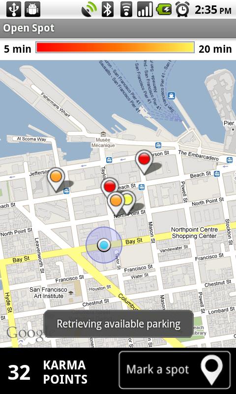 Google's new vacant parking spot tool. (Credit: Google)