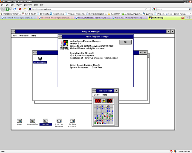 Windows 3.1 in browser