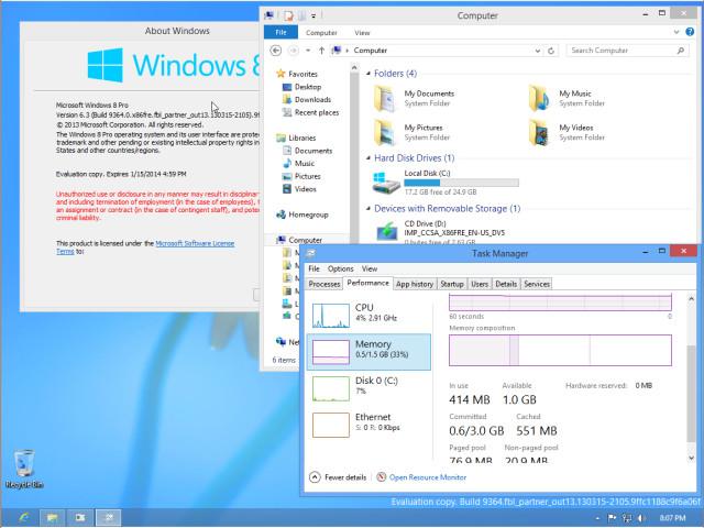 Windows 9 / Windows blue desktop mode