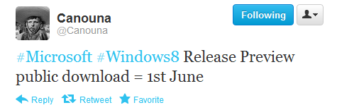 Windows 8 Release Preview para el 01/06/12