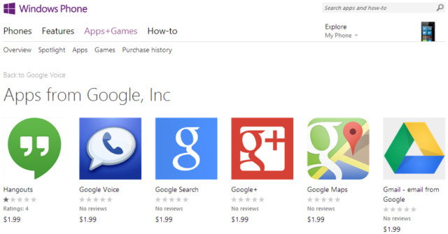 Microsoft removes fake Google apps from Windows Phone Store - Neowin
